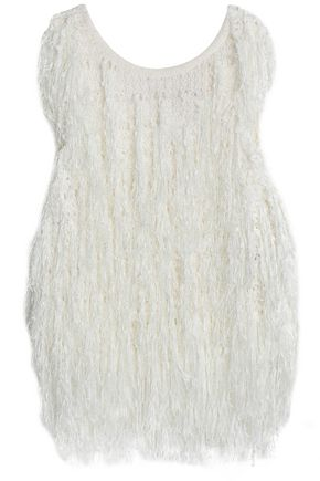 DKNY Fringed open-knit top
