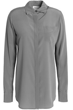 DKNY Washed silk-blend shirt