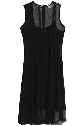 DKNY Paneled point d'esprit, mesh and silk-blend chiffon midi dress