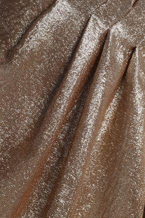 ADAM LIPPES One-shoulder pleated silk-blend lamé dress