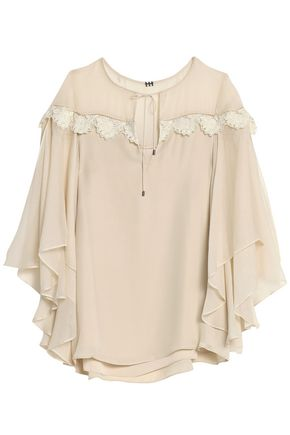 HAUTE HIPPIE Georgette-paneled lace-trimmed silk crepe de chine blouse