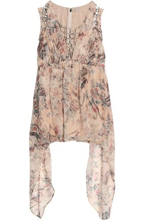 HAUTE HIPPIE Ring-embellished draped printed silk-chiffon blouse