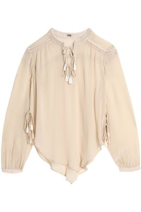 HAUTE HIPPIE Bead and tassel-embellished silk-crepe de chine top