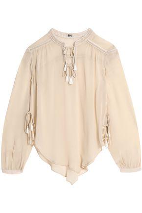 HAUTE HIPPIE Tasseled silk crepe de chine blouse