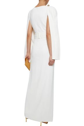 BRANDON MAXWELL Split-front pleated crepe gown