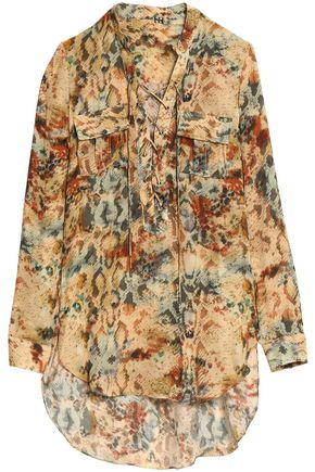 HAUTE HIPPIE Lace-up printed silk shirt