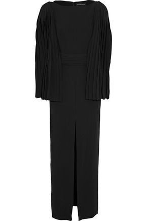 BRANDON MAXWELL Cape-effect pleated crepe gown