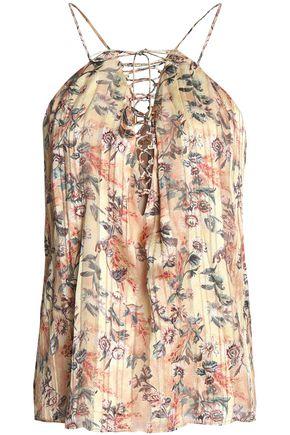HAUTE HIPPIE Lace-up floral-print silk-crepe top