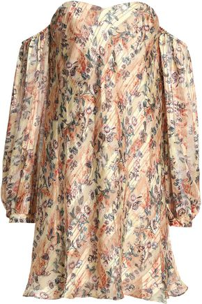 HAUTE HIPPIE Off-the-shoulder metallic floral-print silk-blend mini dress
