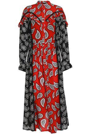 DODO BAR OR Ruffle-trimmed two-tone printed silk midi dress