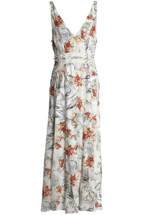 HAUTE HIPPIE Lace-up printed silk midi dress