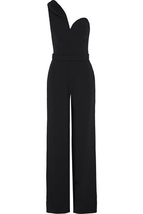 BRANDON MAXWELL One-shoulder crepe wide-leg jumpsuit
