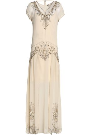 HAUTE HIPPIE Embellished silk-chiffon maxi dress