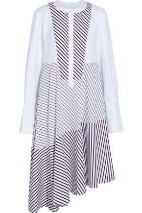 CARVEN Asymmetric twill-paneled striped cotton-poplin shirt dress