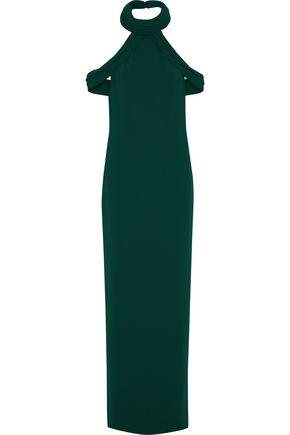 BRANDON MAXWELL Cold-shoulder layered crepe halterneck gown