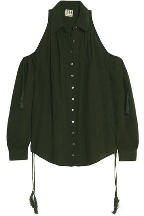 HAUTE HIPPIE Cold-shoulder tassel-embellished cotton and linen-blend crepe top