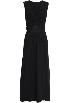 T by ALEXANDER WANG Twist-front cutout cotton-jersey midi dress