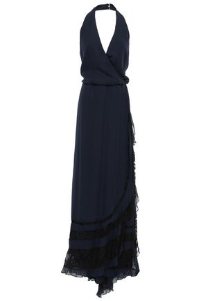HAUTE HIPPIE Wrap-effect silk halterneck gown