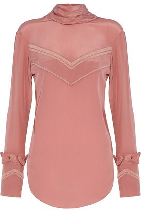 NINA RICCI Bead-embellished silk crepe de chine turtleneck blouse