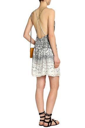 HAUTE HIPPIE Snake-print fil coupé chiffon mini dress