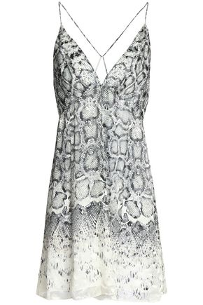 HAUTE HIPPIE Snake-print fil coupé chiffon mini dress
