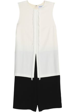 DKNY Cropped layered two-tone cady jumpsuit