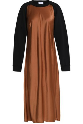 DKNY Two-tone cutout cotton-terry and satin midi dress