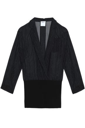 DKNY Pinstriped silk and merino wool top