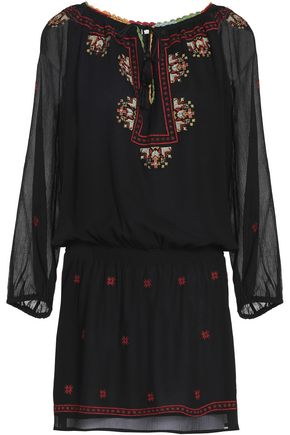 JOIE Embroidered crinkled silk-chiffon mini dress