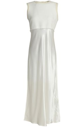 DKNY Fringe-trimmed cotton-blend and satin midi dress