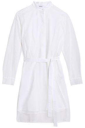 DKNY Layered mesh and cotton-blend poplin shirt dress