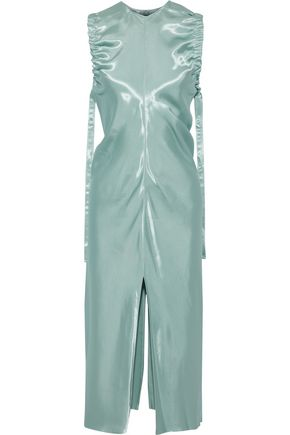 HELMUT LANG Gathered duchesse-satin midi dress