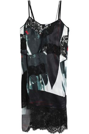 DKNY Asymmetric lace-paneled printed satin dress