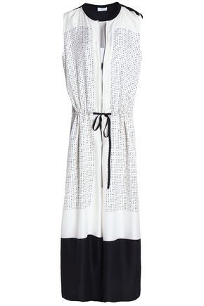 DKNY Two-tone printed silk-twill maxi dress
