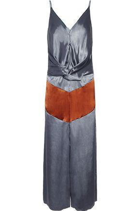 NINA RICCI Twist-front two-tone satin midi dress