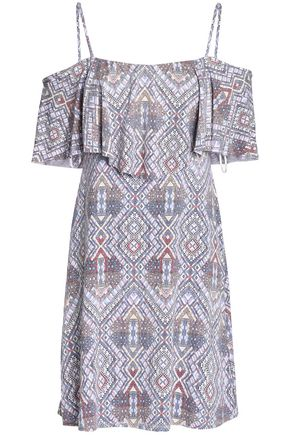 JOIE Cold-shoulder layered printed stretch-modal mini dress