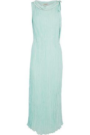 NINA RICCI Embellished plissé-silk midi dress