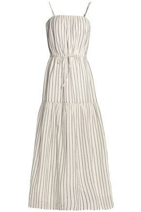 JOIE Tiered striped cotton maxi dress