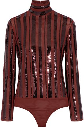 NINA RICCI Sequin-embellished stretch-silk turtleneck bodysuit