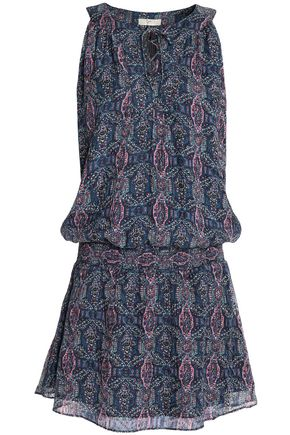 JOIE Shirred printed silk-blend crepe de chine mini dress