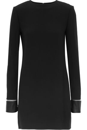 HELMUT LANG Leather-trimmed cutout cady mini dress