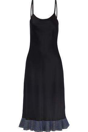 HELMUT LANG Denim-trimmed satin dress