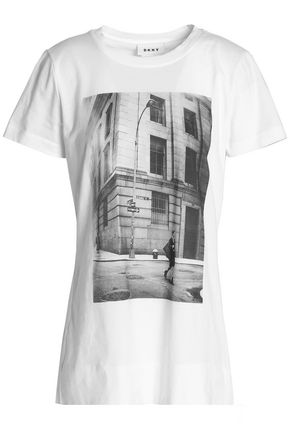 DKNY Printed cotton-jersey T-shirt