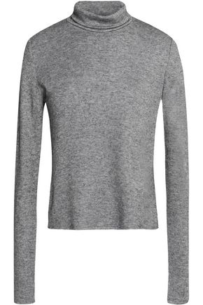 SEE BY CHLOE | See By Chloé Woman Flocked Chiffon And Mélange Jersey Turtleneck Top Gray | Goxip