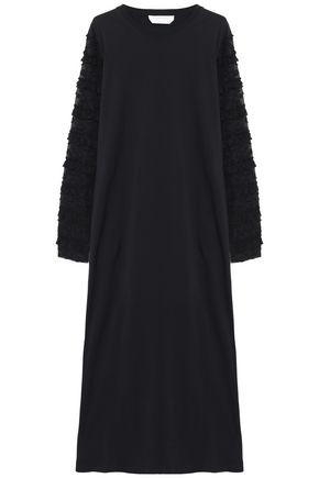SEE BY CHLOÉ Fil coupé chiffon-paneled cotton-jersey maxi dress