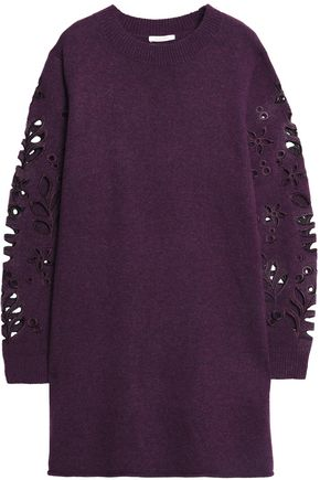 SEE BY CHLOÉ Embroidered cutout knitted mini dress
