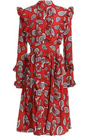 DODO BAR OR Ruffle-trimmed printed silk dress