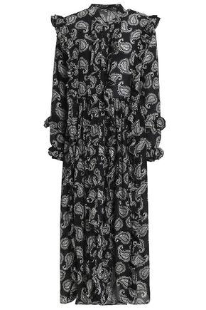 DODO BAR OR Ruffle-trimmed printed silk-crepe de chine midi dress