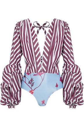 JOHANNA ORTIZ Floure striped cotton-blend poplin and floral-print stretch-jersey bodysuit