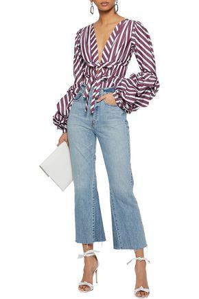 JOHANNA ORTIZ Floure striped cotton-blend poplin and floral-print stretch-jersey bodysuit